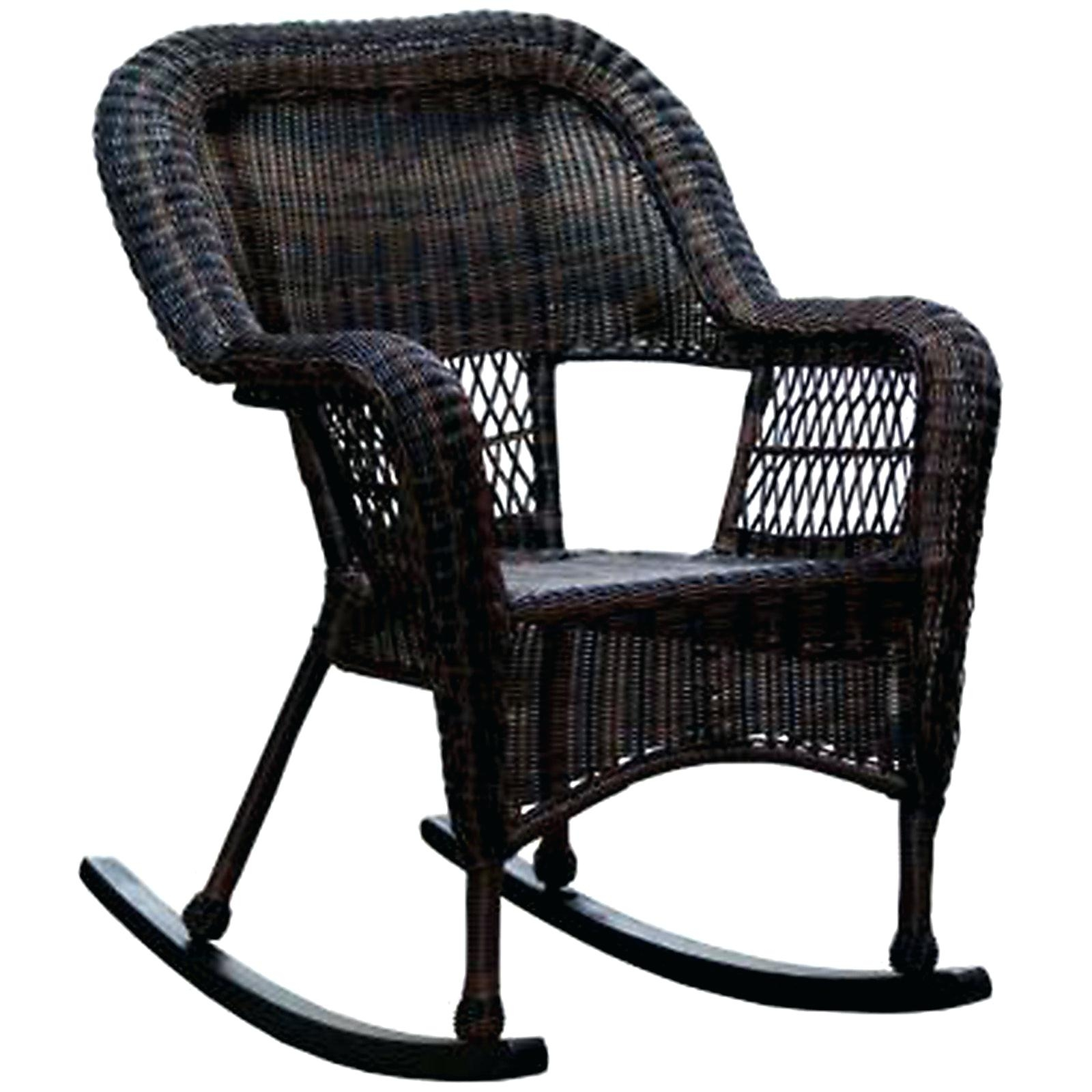 Inspiration about Patio Rocking Chairs Dark Brown Wicker Outdoor Patio Rocking Chair Throughout Wicker Rocking Chairs With Cushions (#14 of 15)