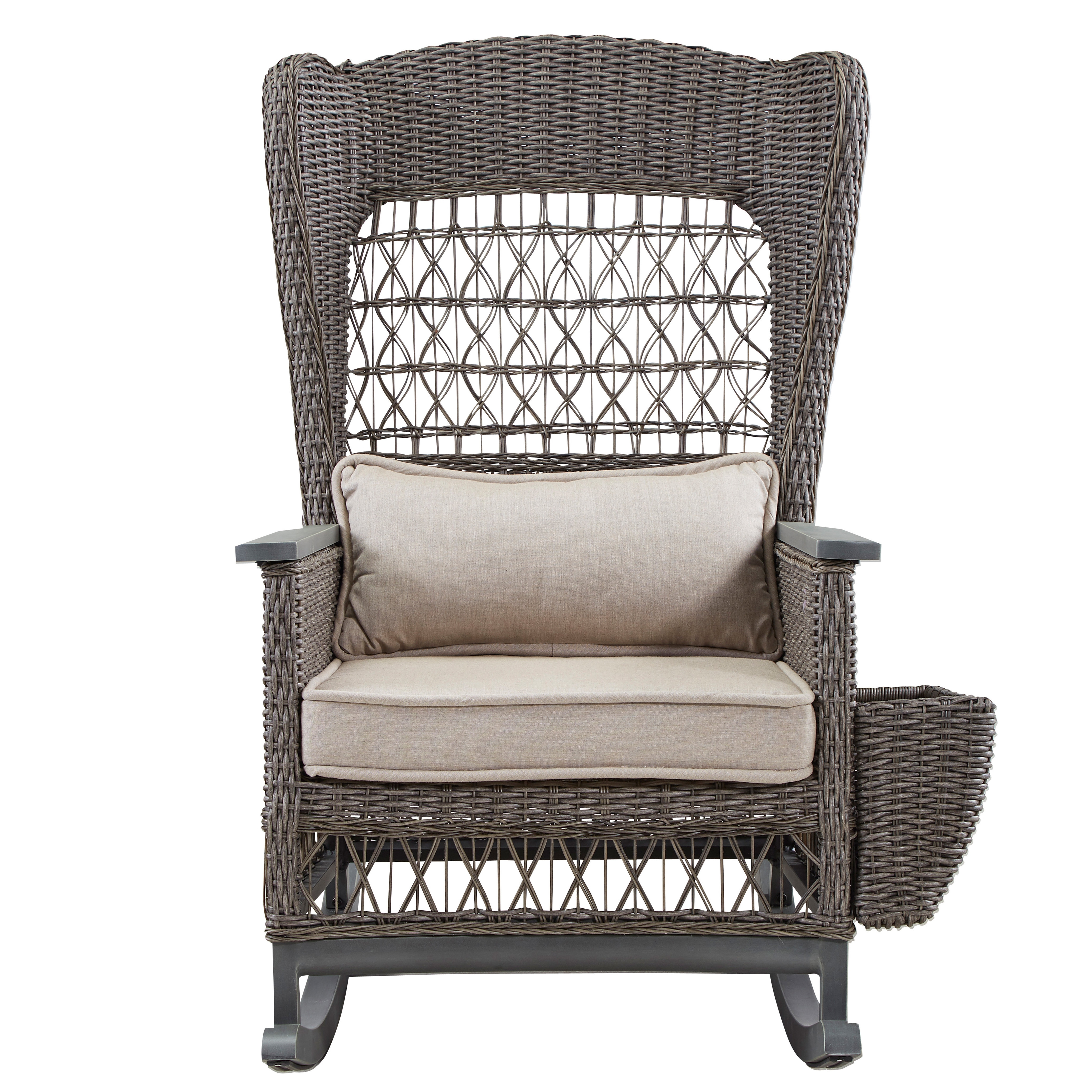 Paula Deen Home Dogwood Rocking Chair With Cushions | Wayfair For Wicker Rocking Chair With Magazine Holder (#11 of 15)