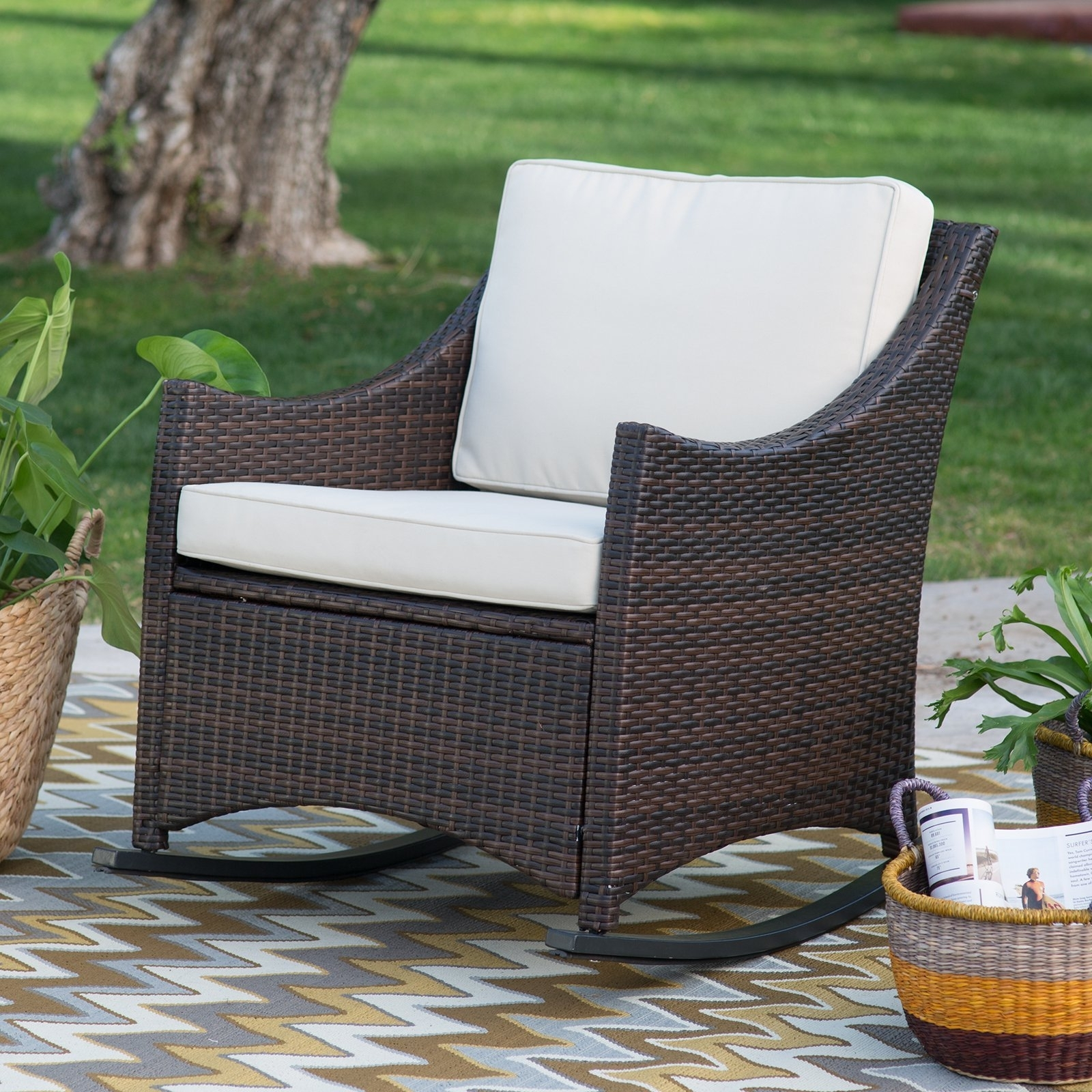 Phantasy Wicker Domain Deep Seat Rocking Chair Cushions To Dazzling Pertaining To Resin Patio Rocking Chairs (#7 of 15)