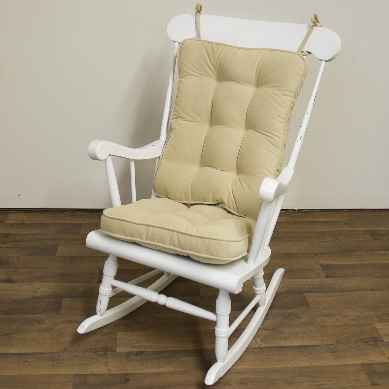 Piece Rocking Chair Cushion Set Cream Color Seat Back Nylon Pertaining To Rocking Chairs With Lumbar Support (View 6 of 15)
