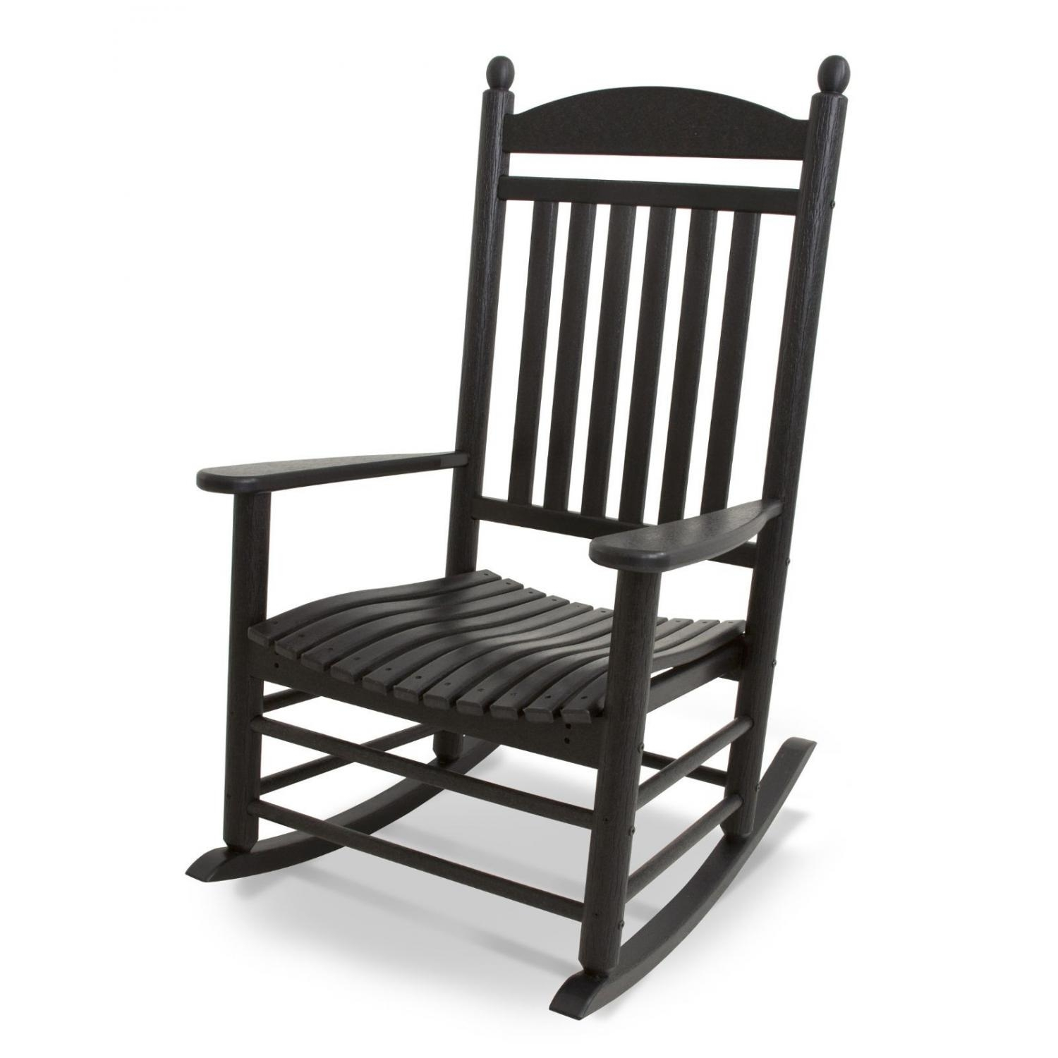 Polywood Jefferson Recycled Plastic Wood Patio Rocking Chair – Black Intended For Wooden Patio Rocking Chairs (#12 of 15)