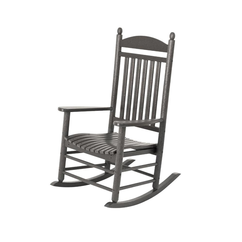Polywood Jefferson Slate Grey Patio Rocker J147Gy – The Home Depot Pertaining To White Resin Patio Rocking Chairs (View 11 of 15)