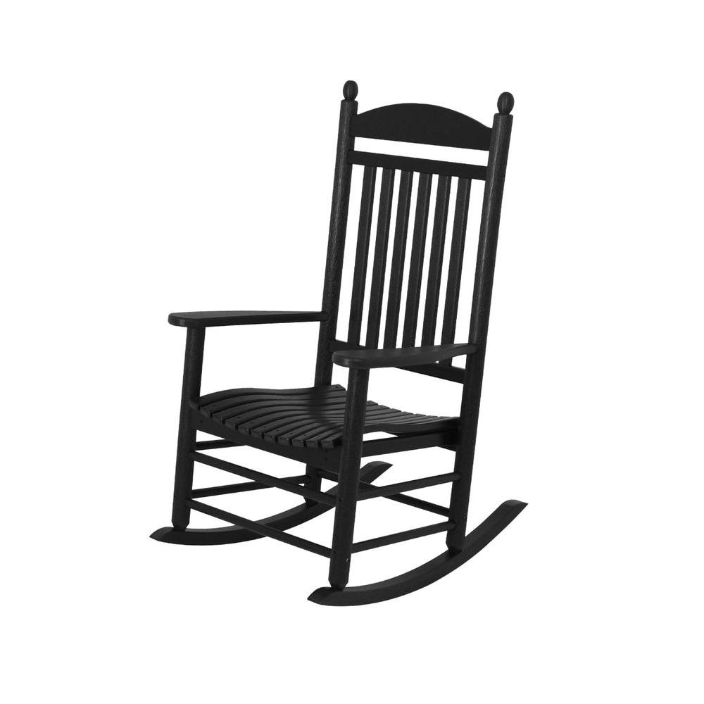 Polywood Jefferson Slate Grey Patio Rocker J147Gy – The Home Depot Throughout Black Patio Rocking Chairs (#9 of 15)
