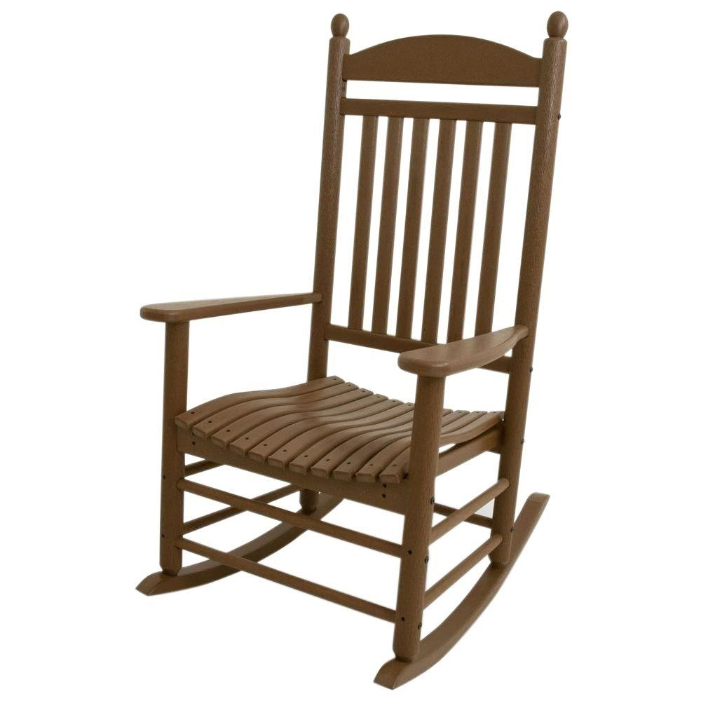 Polywood Jefferson Teak Patio Rocker J147Te – The Home Depot With Regard To Teak Patio Rocking Chairs (View 6 of 15)