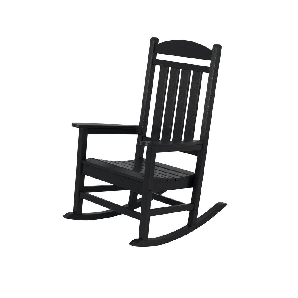 Polywood Presidential Black Patio Rocker R100Bl – The Home Depot For Black Rocking Chairs (#12 of 15)
