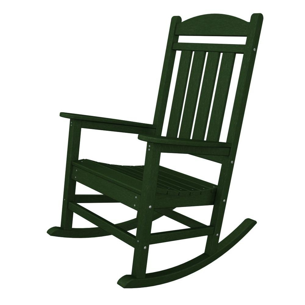 Polywood Presidential Green Plastic Patio Rocker R100Gr – The Home Depot Inside Plastic Patio Rocking Chairs (View 6 of 15)