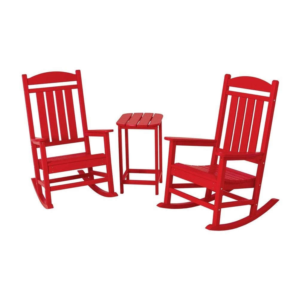 Inspiration about Polywood Presidential Sunset Red 3 Piece Patio Rocker Set Pws139 1 In Patio Rocking Chairs And Table (#13 of 15)