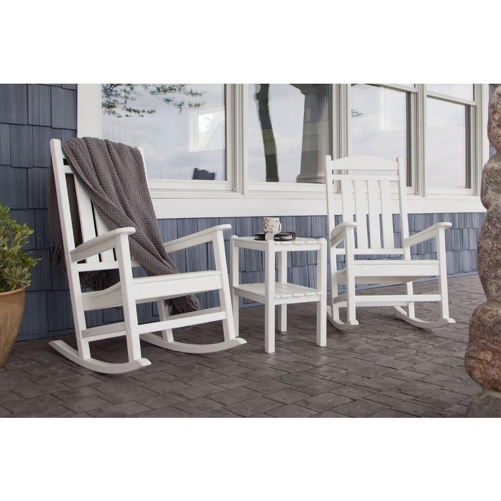 Polywood Presidential White 3 Piece Patio Rocker Set Pws138 1 Wh With Outside Rocking Chair Sets (View 12 of 15)