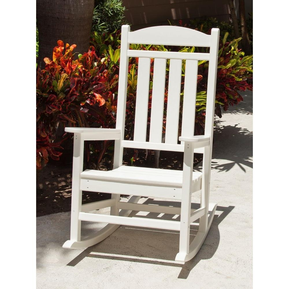 Polywood Presidential White Patio Rocker R100Wh – The Home Depot With Regard To Rocking Chairs At Home Depot (#12 of 15)