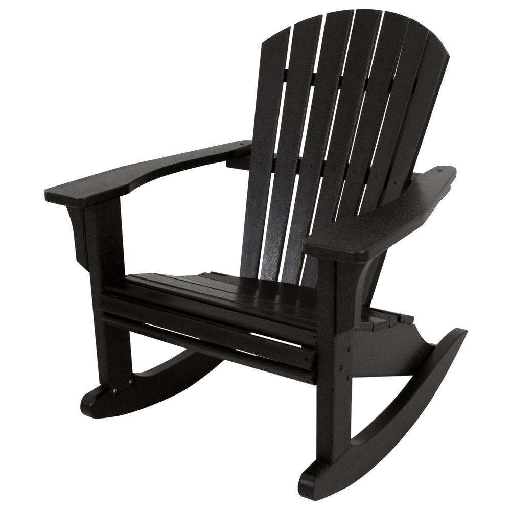 Polywood Seashell Black Patio Rocker Shr22Bl – The Home Depot Within Black Patio Rocking Chairs (#10 of 15)