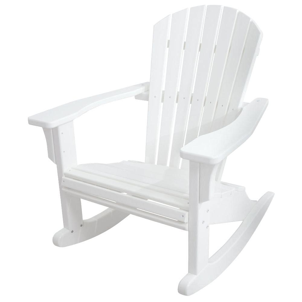 Polywood Seashell White Patio Rocker Shr22Wh – The Home Depot Within White Resin Patio Rocking Chairs (View 6 of 15)