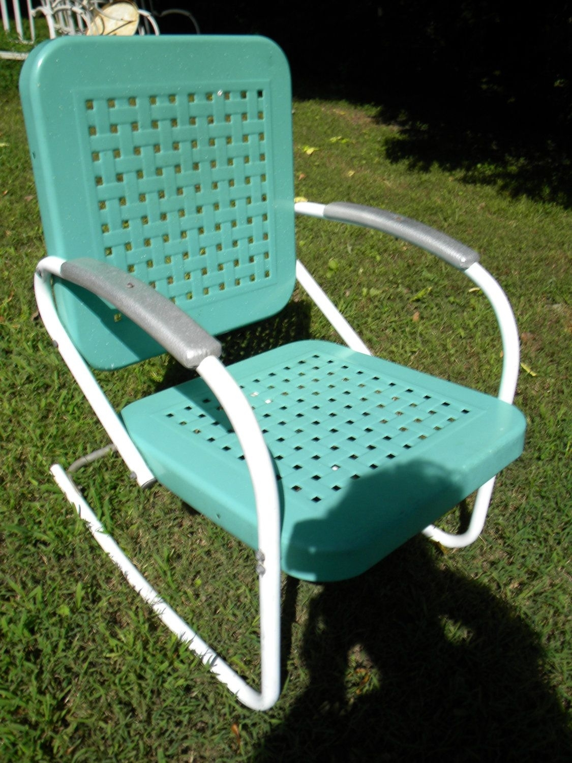Reserve For Sandy Vtg 50S 60S Retro Outdoor Metal Lawn Patio Porch Pertaining To Vintage Metal Rocking Patio Chairs (View 2 of 15)