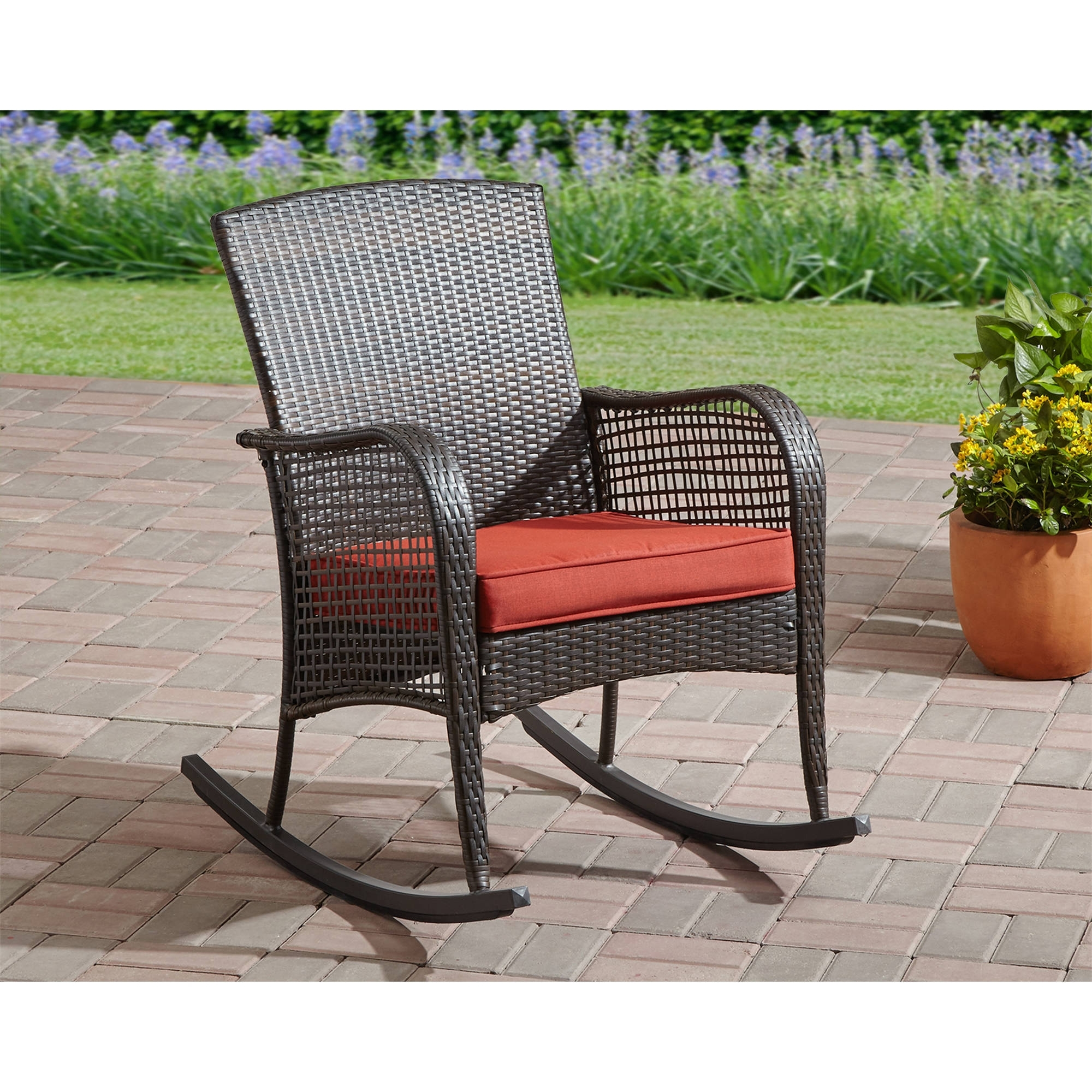 Inspiration about Rocking Chair Cushion Seat Wicker Steel Frame Outdoor Patio Deck Throughout Brown Patio Rocking Chairs (#3 of 15)