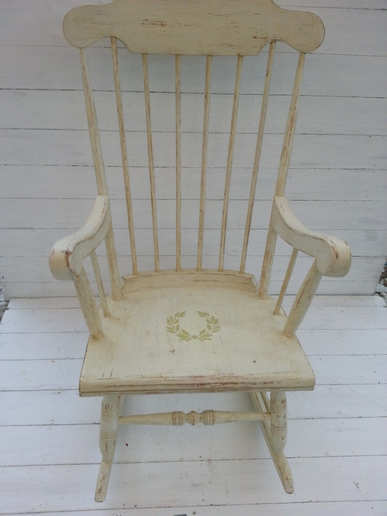 Rocking Chair, White, Shabby Chic, Vintage | In Havant, Hampshire In Rocking Chairs At Gumtree (View 8 of 15)