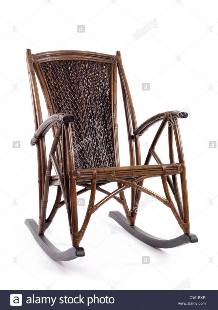 Rocking Chairs : Antique Wicker Rocking Chair Isolated On White Throughout Vintage Wicker Rocking Chairs (#6 of 15)