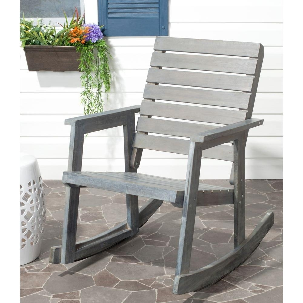 Safavieh Alexei Ash Gray Acacia Wood Patio Rocking Chair Fox6702A With Wooden Patio Rocking Chairs (#13 of 15)