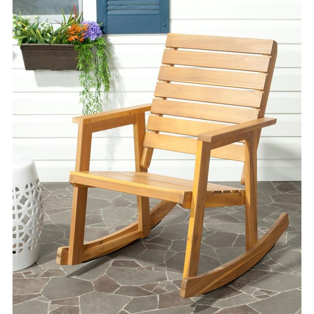 Safavieh Alexei Natural Brown Acacia Wood Patio Rocking Chair Inside Yellow Outdoor Rocking Chairs (#9 of 15)