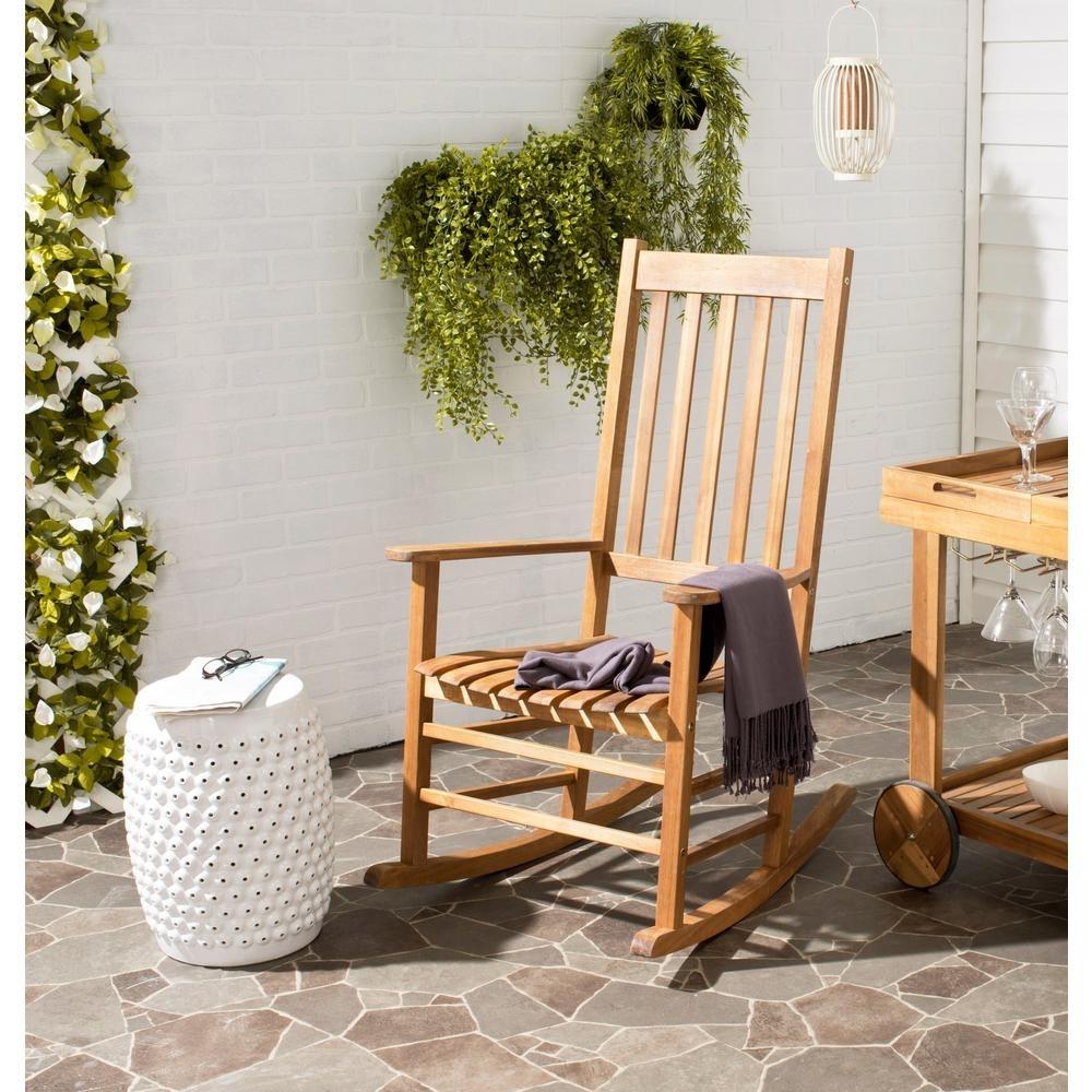 Safavieh Shasta Teak Wood Outdoor Rocking Chair Pat7002A – The Home Regarding Outdoor Rocking Chairs With Table (#10 of 15)