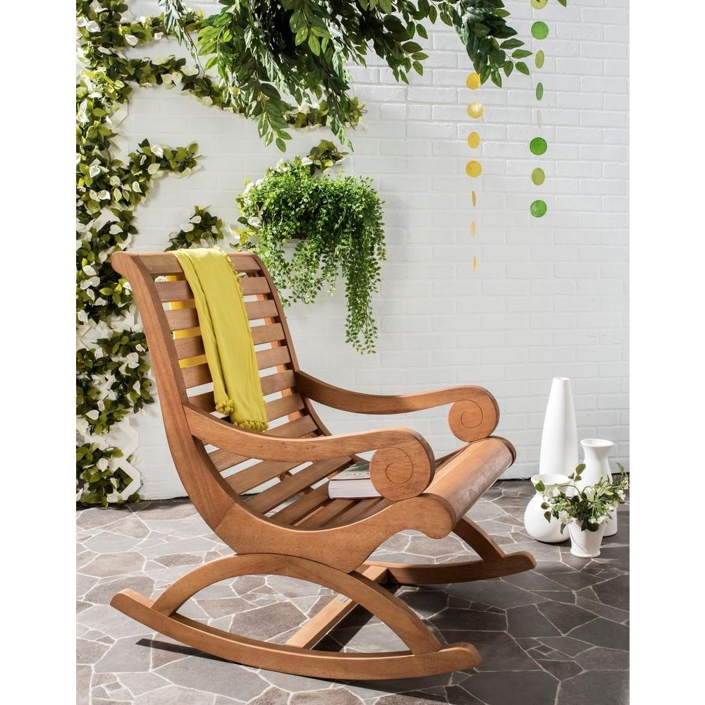 Safavieh Sonora Teak Brown Outdoor Patio Rocking Chair Pat7016B Regarding Brown Wicker Patio Rocking Chairs (View 6 of 15)
