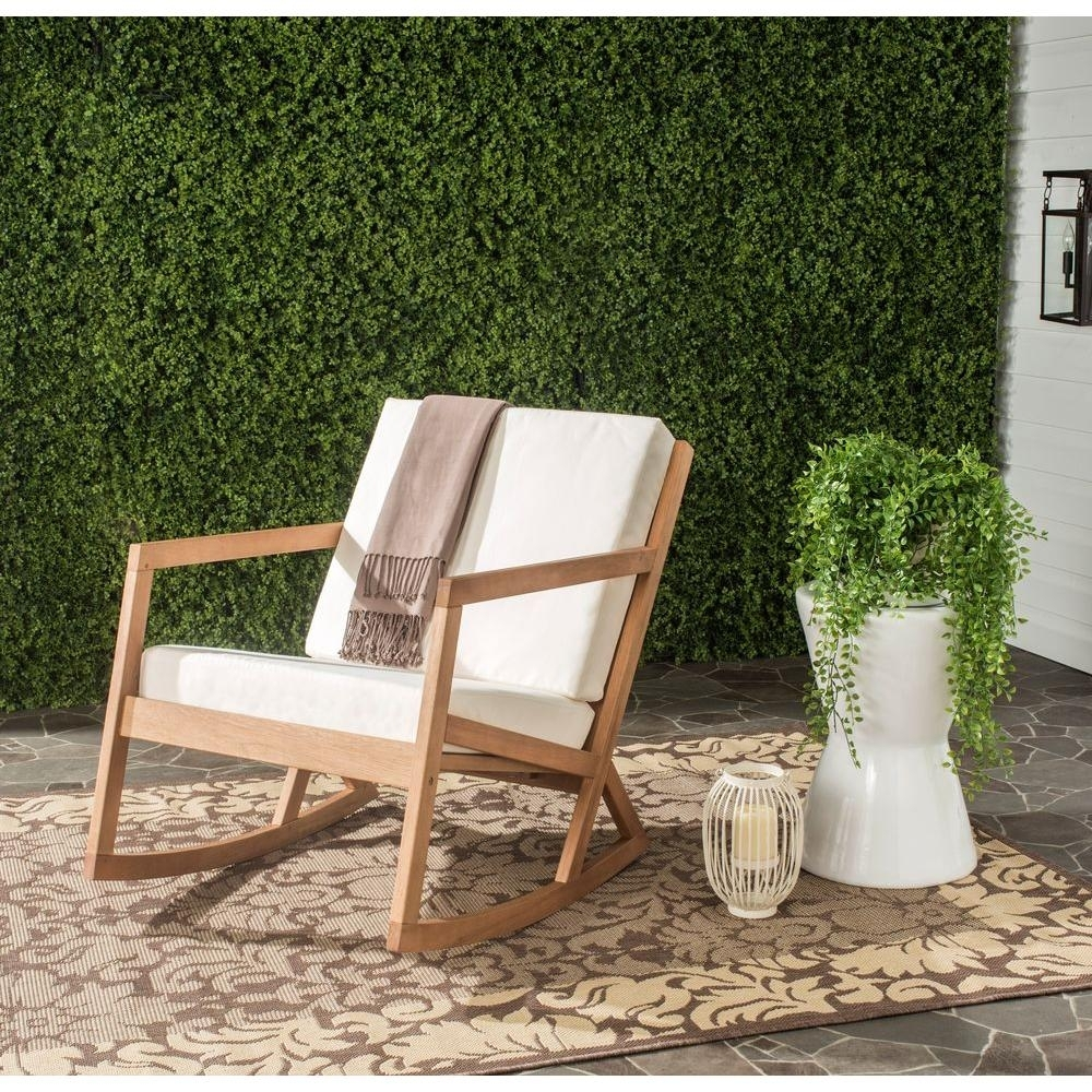Safavieh Vernon Teak Brown Outdoor Patio Rocking Chair With Beige Intended For Oversized Patio Rocking Chairs (#11 of 15)