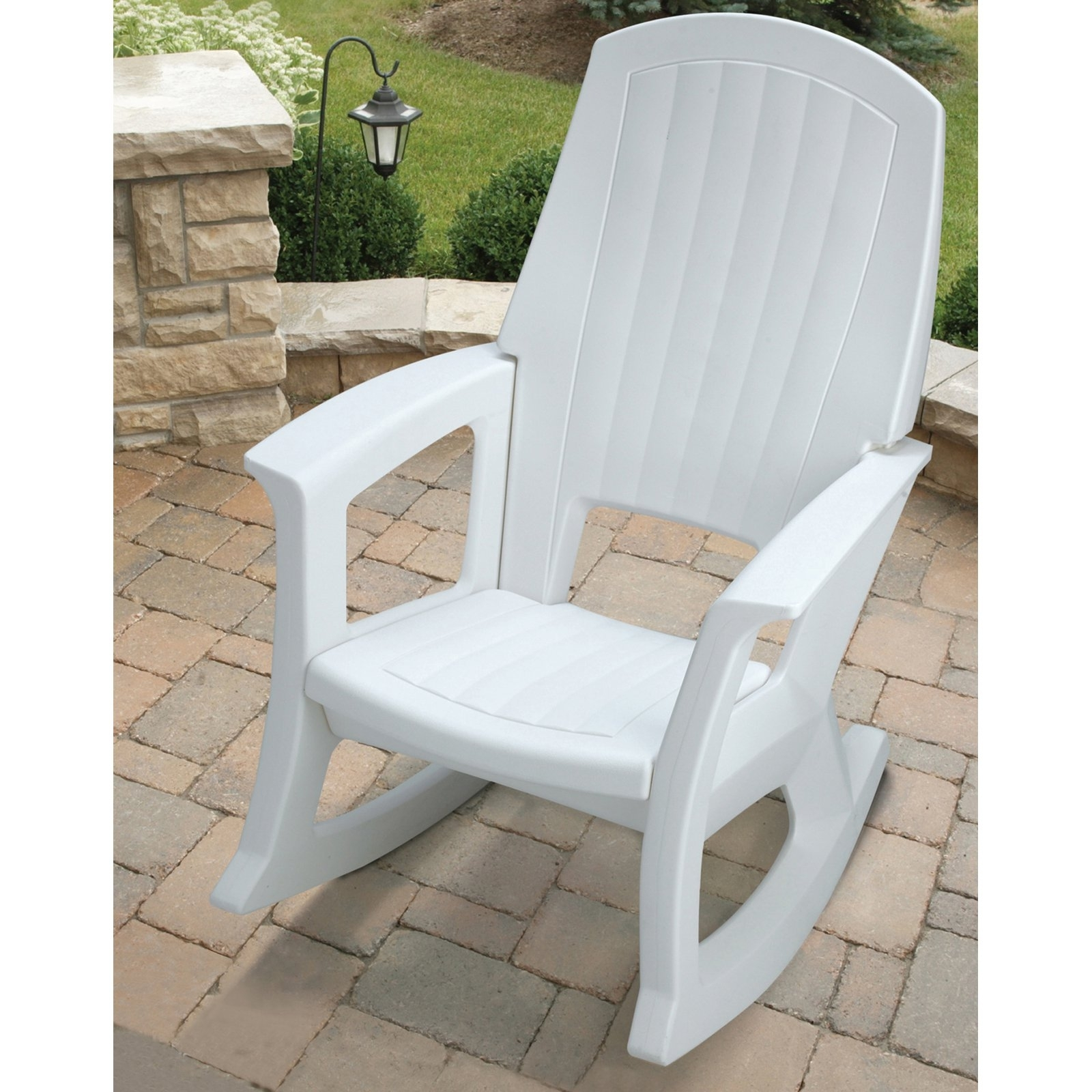 Semco Recycled Plastic Rocking Chair Outdoor Rocking White Porch Pertaining To White Patio Rocking Chairs (#11 of 15)