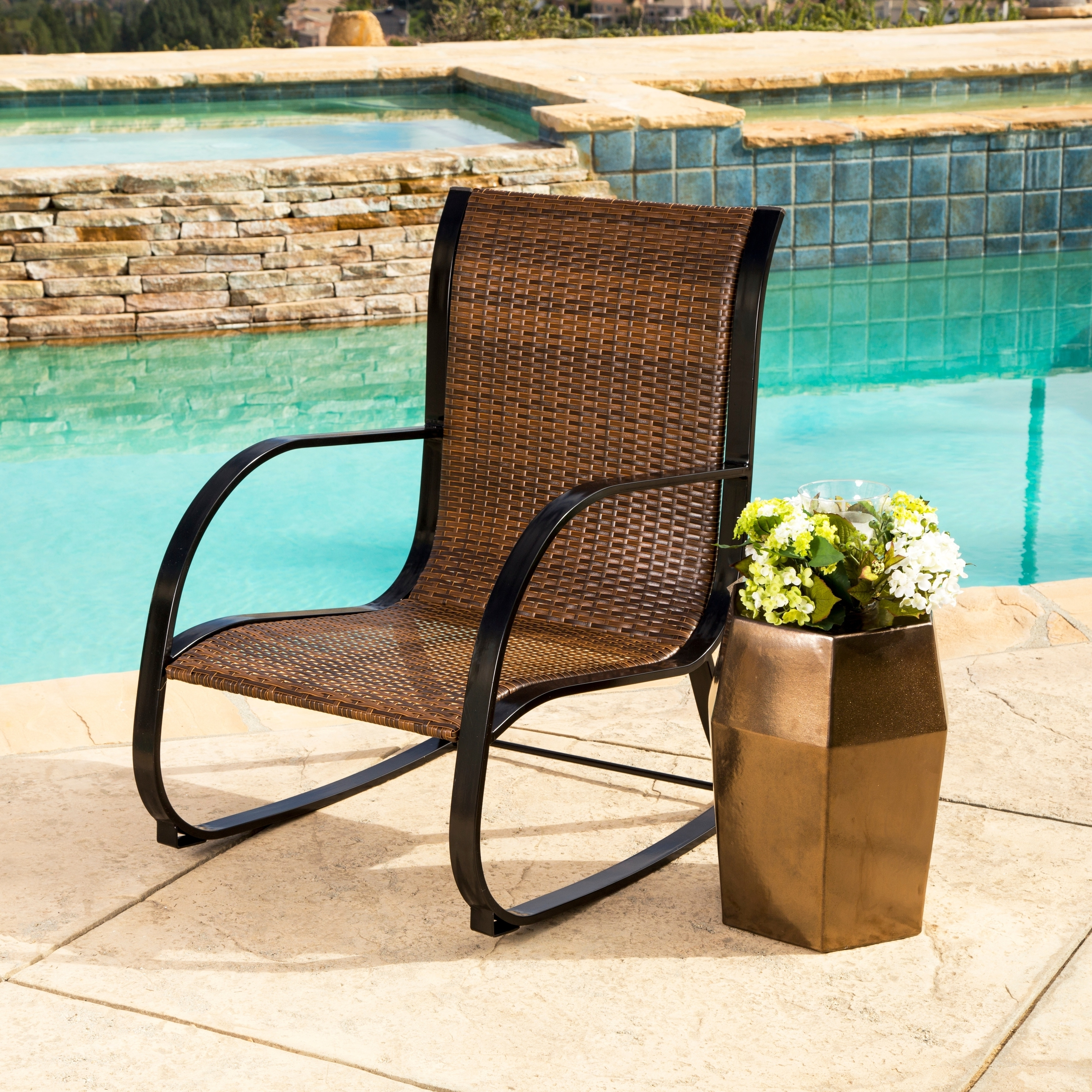Shop Abbyson Gabriela Brown Outdoor Wicker Rocking Chair – Free Intended For Brown Patio Rocking Chairs (#13 of 15)
