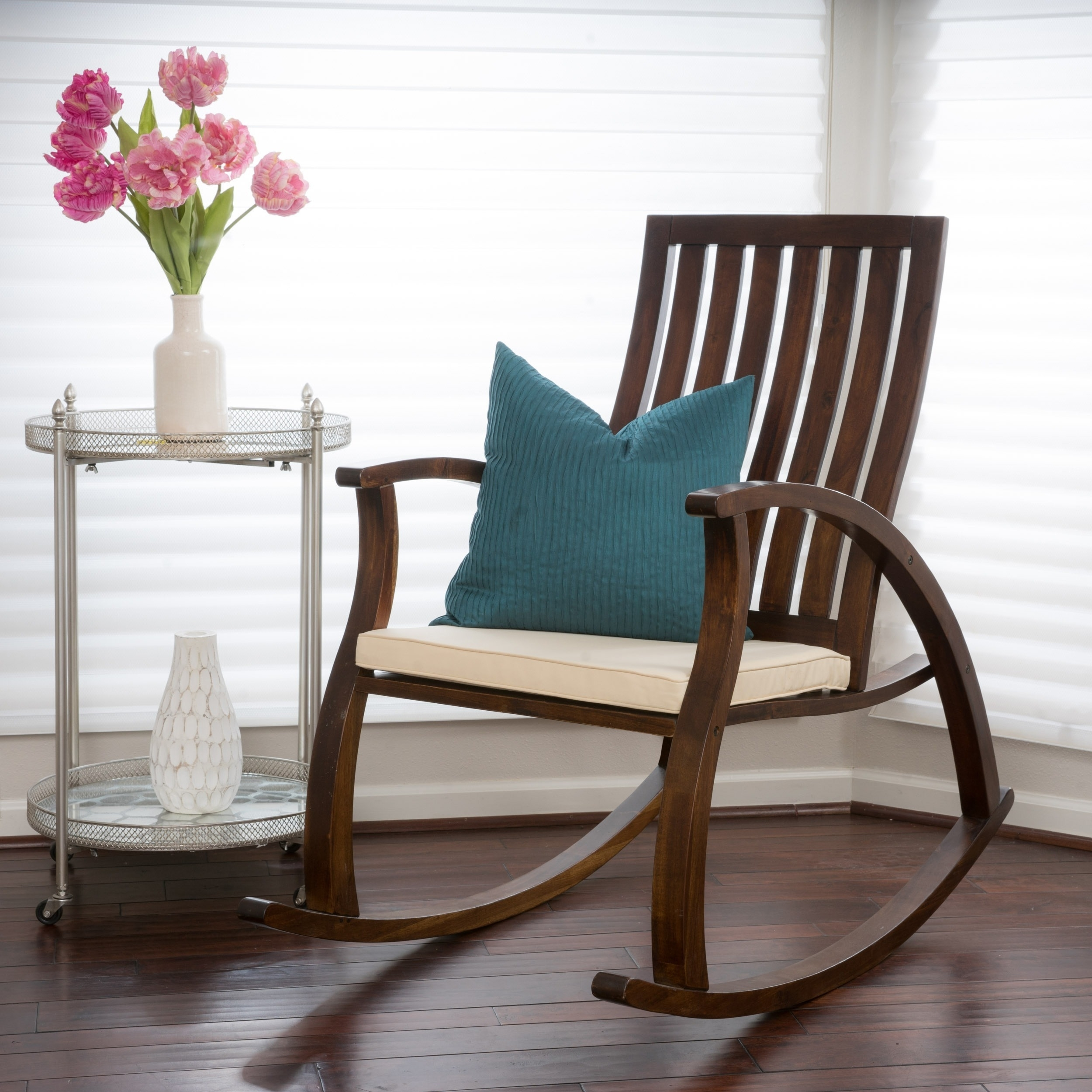 Shop Abraham Brown Mahogany Wood Rocking Chair W/ Cushion For Rocking Chairs With Lumbar Support (View 13 of 15)
