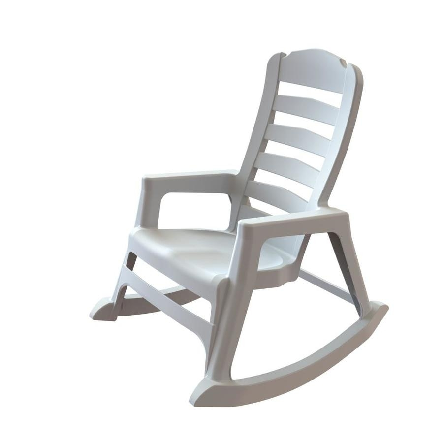 Shop Adams Mfg Corp Stackable Resin Rocking Chair At Lowes Pertaining To White Resin Patio Rocking Chairs (#12 of 15)