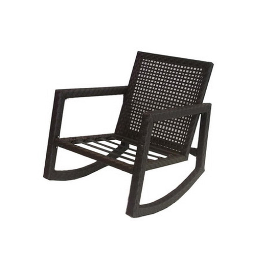 Shop Allen + Roth Lawley Textured Black Steel Strap Seat Patio Within Black Patio Rocking Chairs (View 9 of 15)