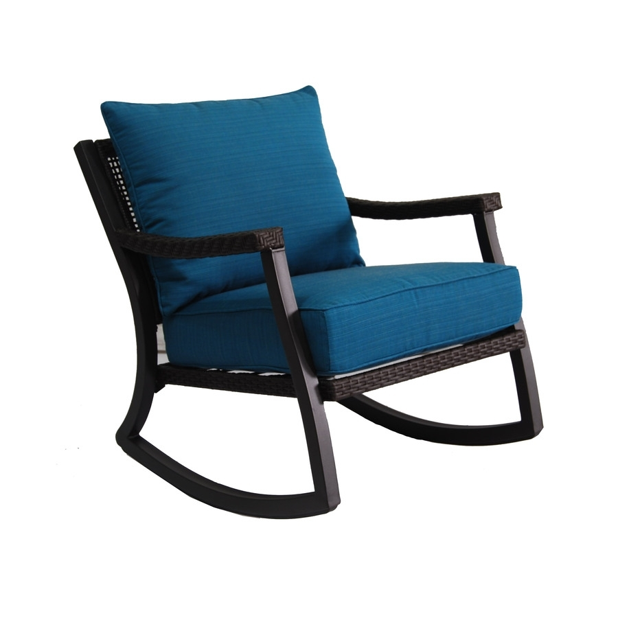 Shop Allen + Roth Netley Brown Wicker Rocking Patio Conversation For Patio Rocking Chairs With Covers (View 11 of 15)