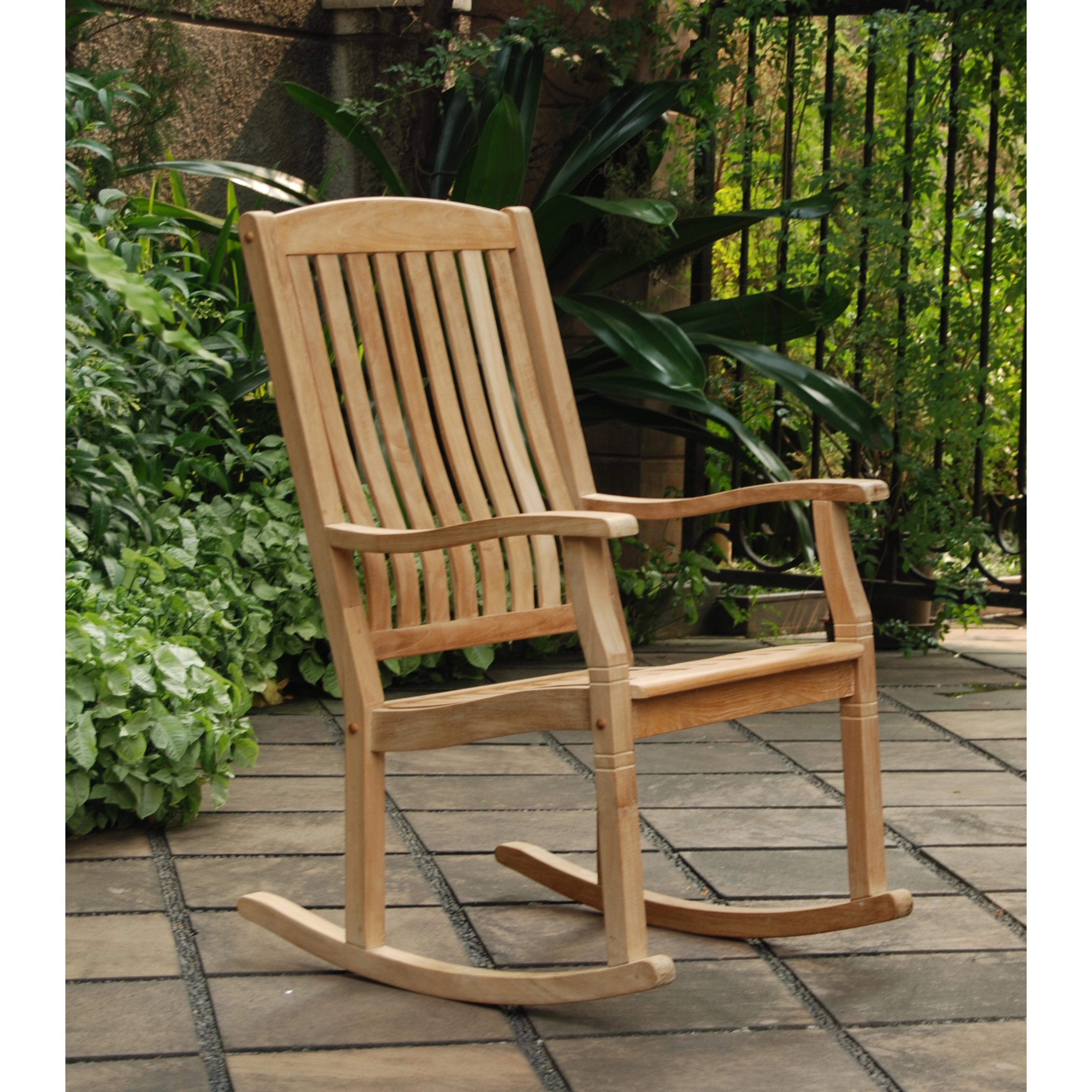 Shop Cambridge Casual Sherwood Natural Teak Porch Rocking Chair Regarding Teak Patio Rocking Chairs (View 14 of 15)