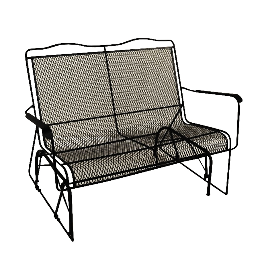 Shop Davenport Wrought Iron Rocking Chair With Mesh Seat At Lowes With Regard To Iron Rocking Patio Chairs (View 8 of 15)