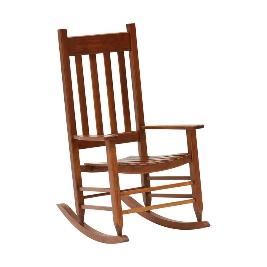 Shop Garden Treasures Acacia Rocking Chair With Slat Seat At Lowes Inside Rocking Chairs At Lowes (#12 of 15)
