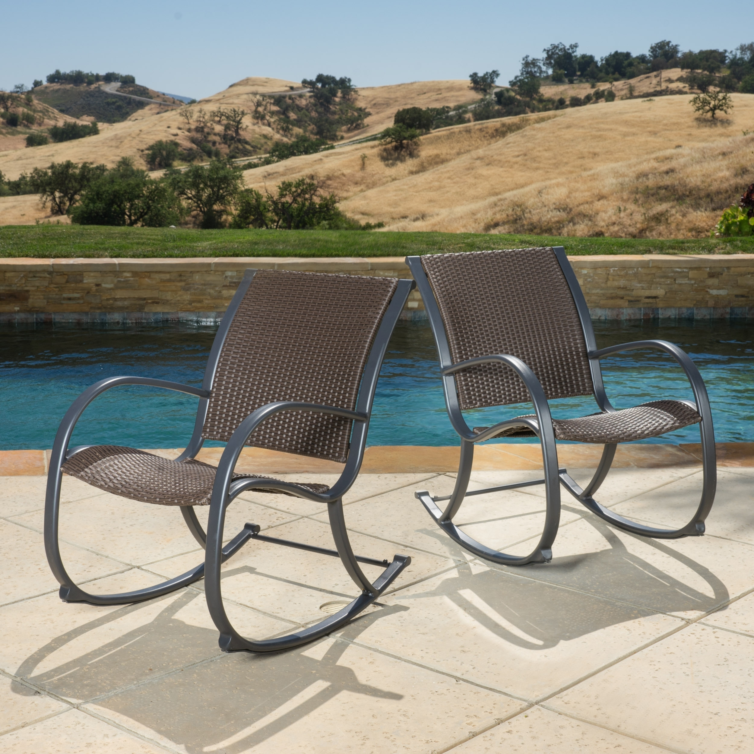 Shop Gracie's Outdoor Wicker Rocking Chair (Set Of 2)Christopher In Wicker Rocking Chairs For Outdoors (View 11 of 15)