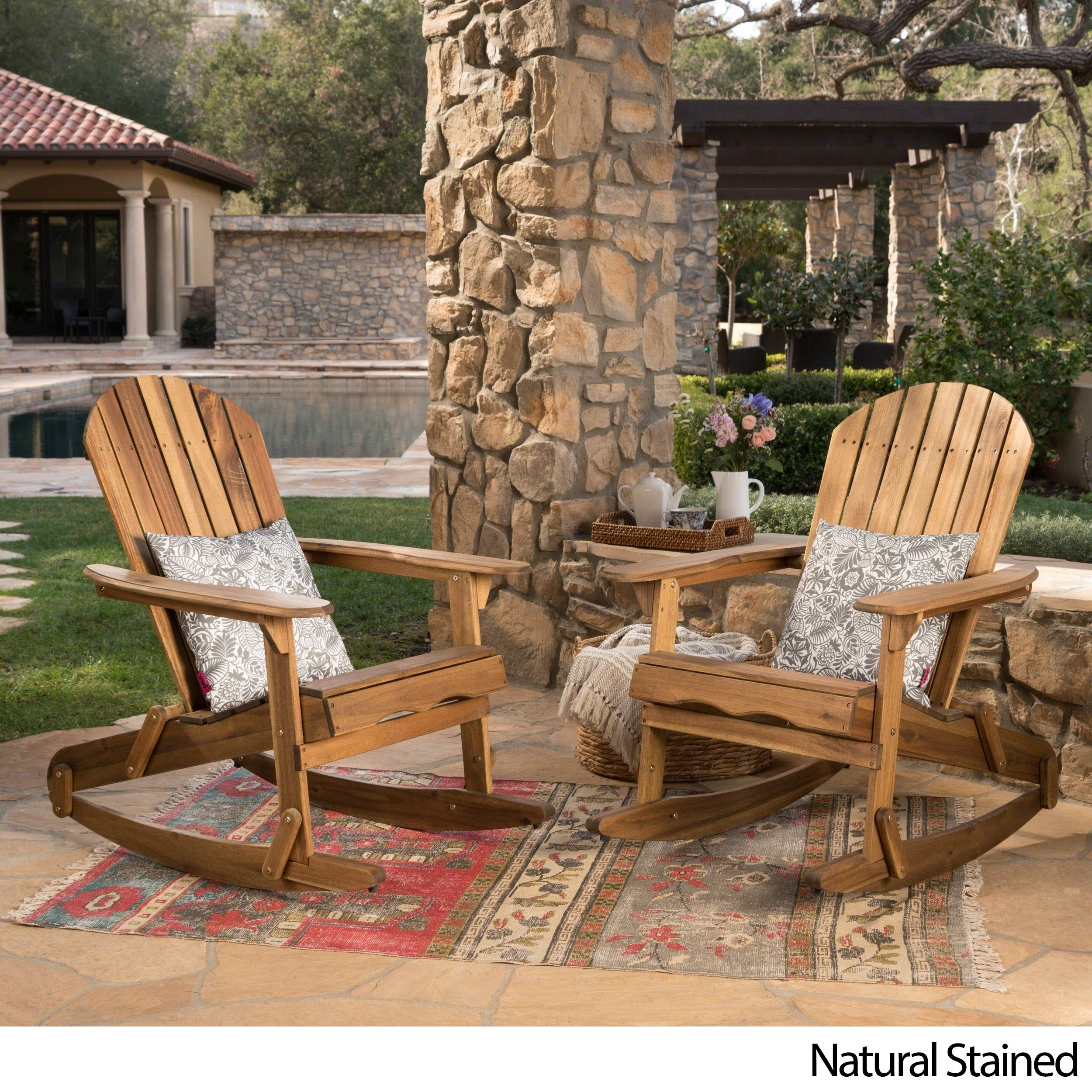 Shop Malibu Outdoor Adirondack Rocking Chair (Set Of 2) Inside Outdoor Rocking Chairs With Table (View 12 of 15)