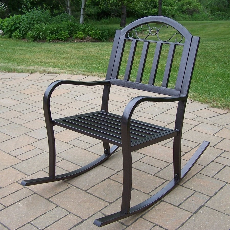 Shop Oakland Living Rochester Iron Rocking Chair With Slat Seat At Pertaining To Iron Rocking Patio Chairs (#13 of 15)