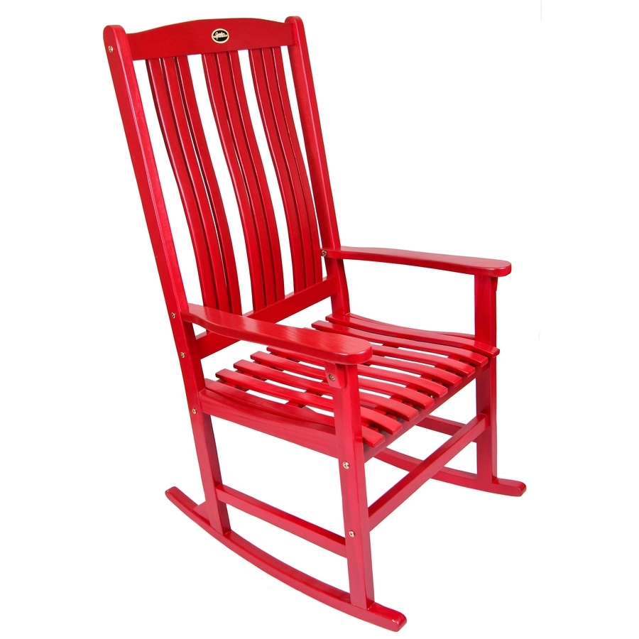 Shop Red Wood Slat Seat Outdoor Rocking Chair At Lowes For Red Patio Rocking Chairs (View 14 of 15)