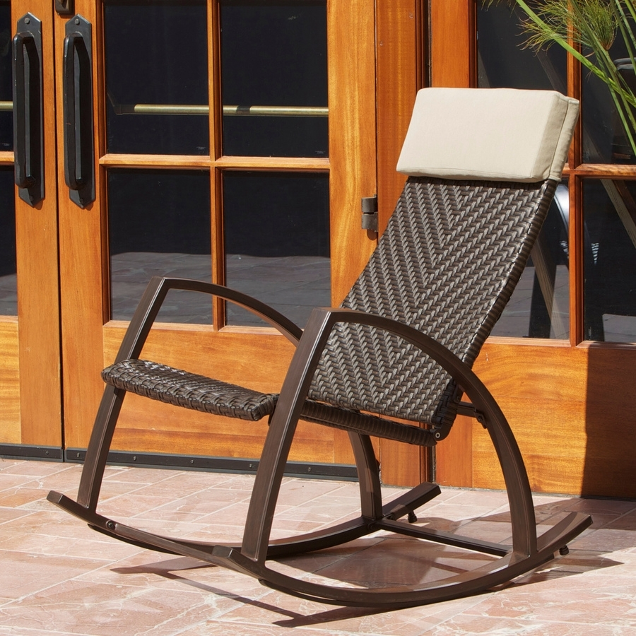 Shop Rst Outdoor Espresso Aluminum Woven Seat Outdoor Rocking Chair In Aluminum Patio Rocking Chairs (View 5 of 15)