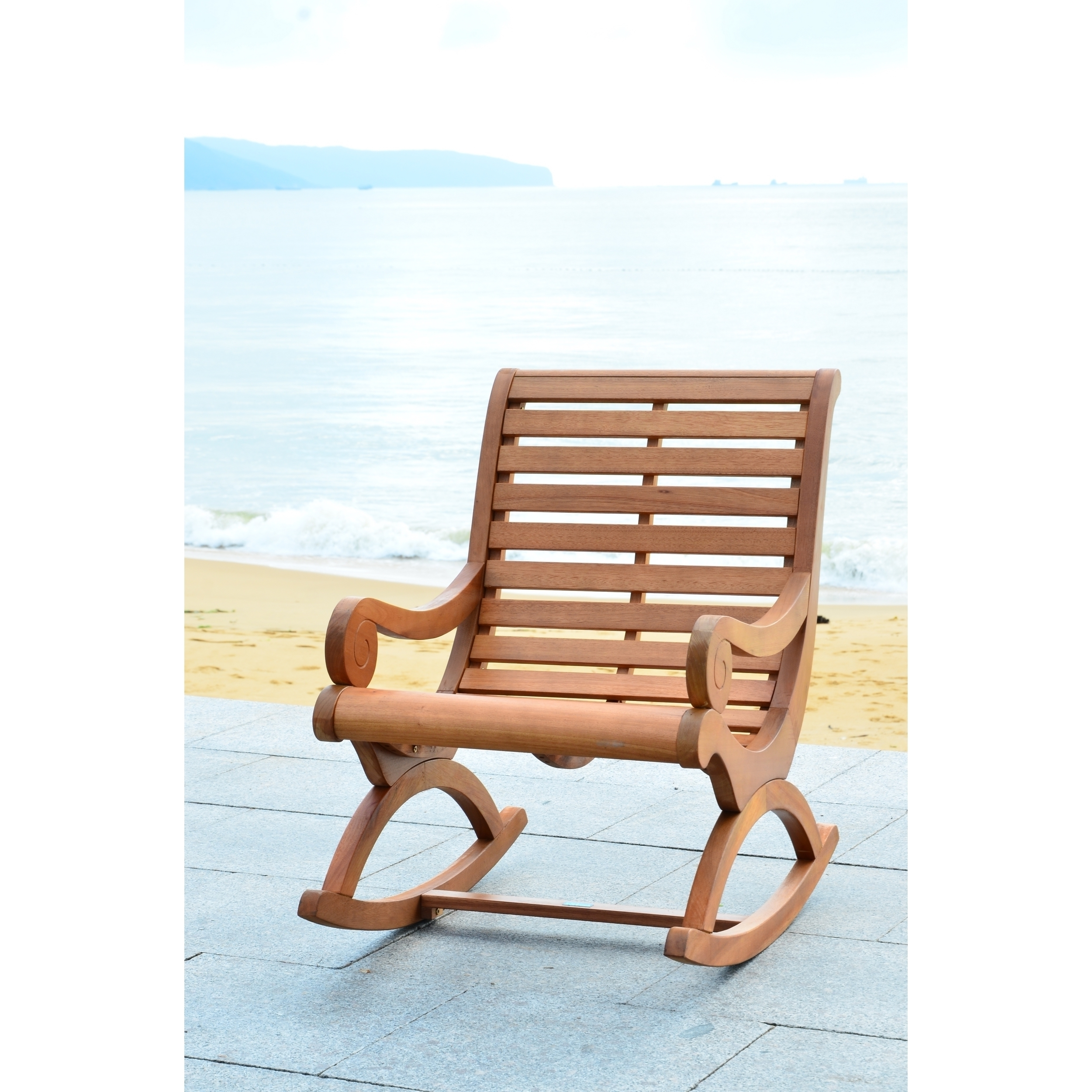 Shop Safavieh Outdoor Living Sonora Brown Rocking Chair – On Sale With Teak Patio Rocking Chairs (View 11 of 15)