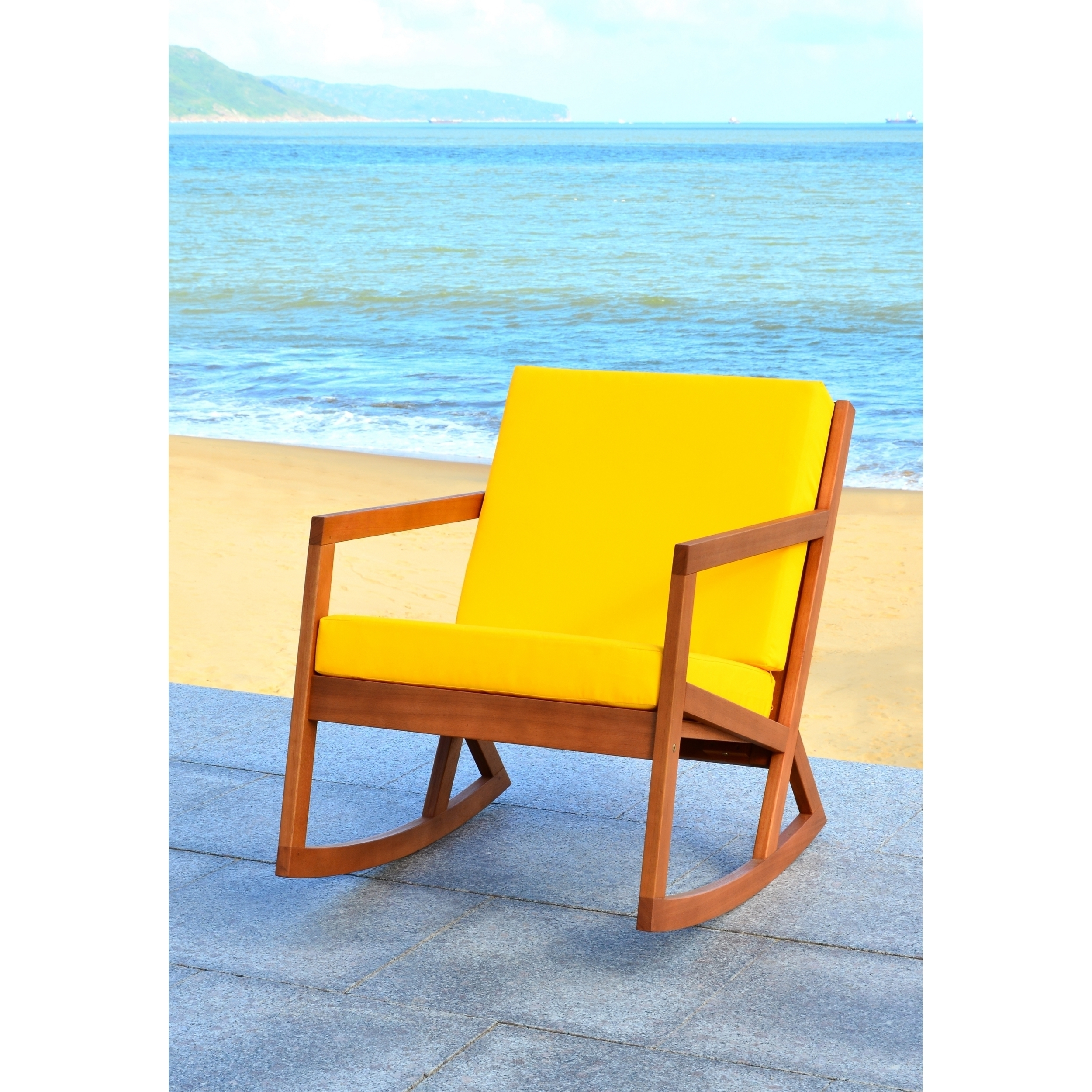 Shop Safavieh Outdoor Living Vernon Brown/ Yellow Rocking Chair With Regard To Yellow Outdoor Rocking Chairs (#12 of 15)