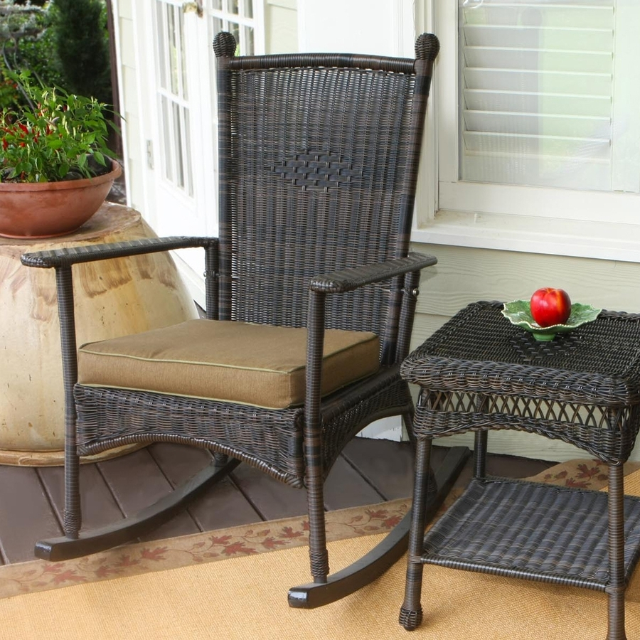 Shop Tortuga Outdoor Portside Wicker Rocking Chair With Khaki Intended For Patio Rocking Chairs With Cushions (View 15 of 15)