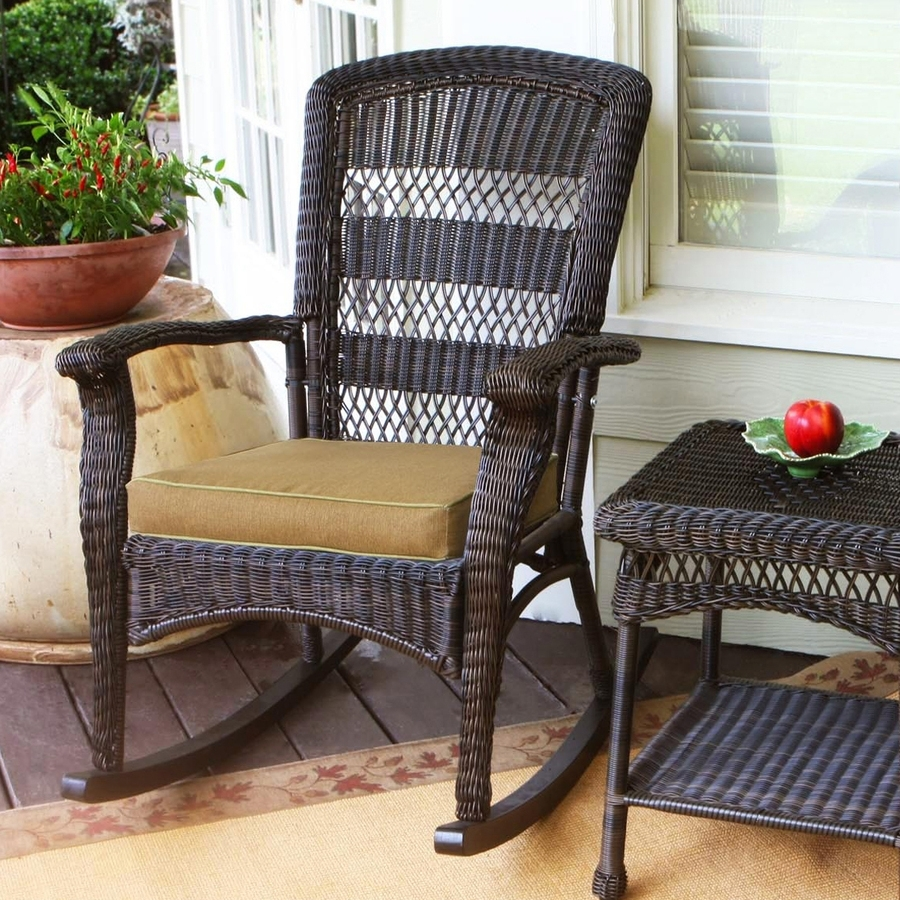 Shop Tortuga Outdoor Portside Wicker Rocking Chair With Khaki Pertaining To Wicker Rocking Chairs With Cushions (#12 of 15)