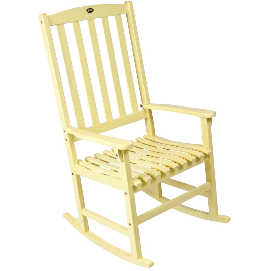 Shop Yellow Wood Slat Seat Outdoor Rocking Chair At Lowes With Regard To Yellow Outdoor Rocking Chairs (#13 of 15)