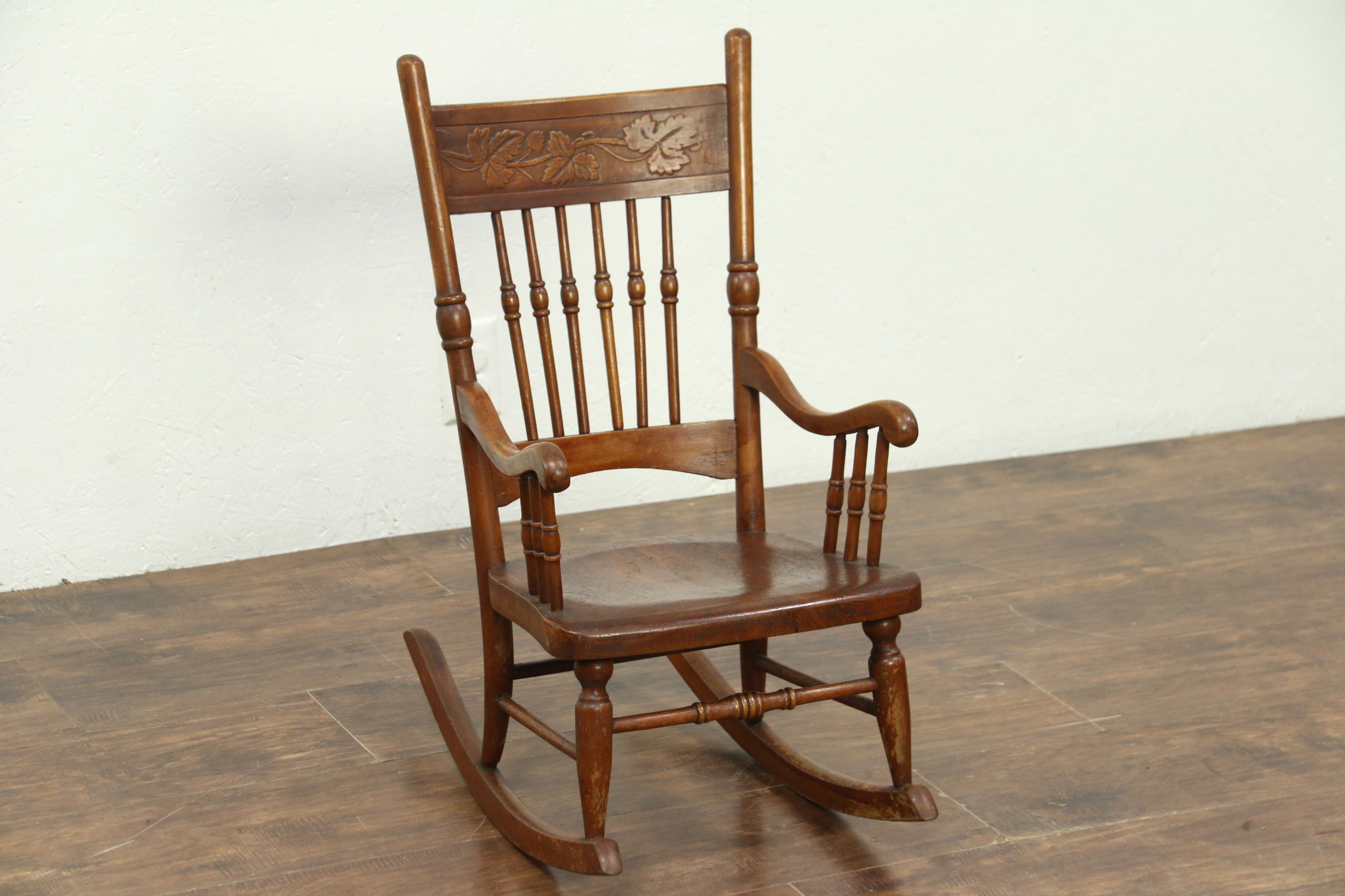 Sold – Victorian Rocking Chair Press Carved Antique Child Size With Regard To Victorian Rocking Chairs (View 4 of 15)