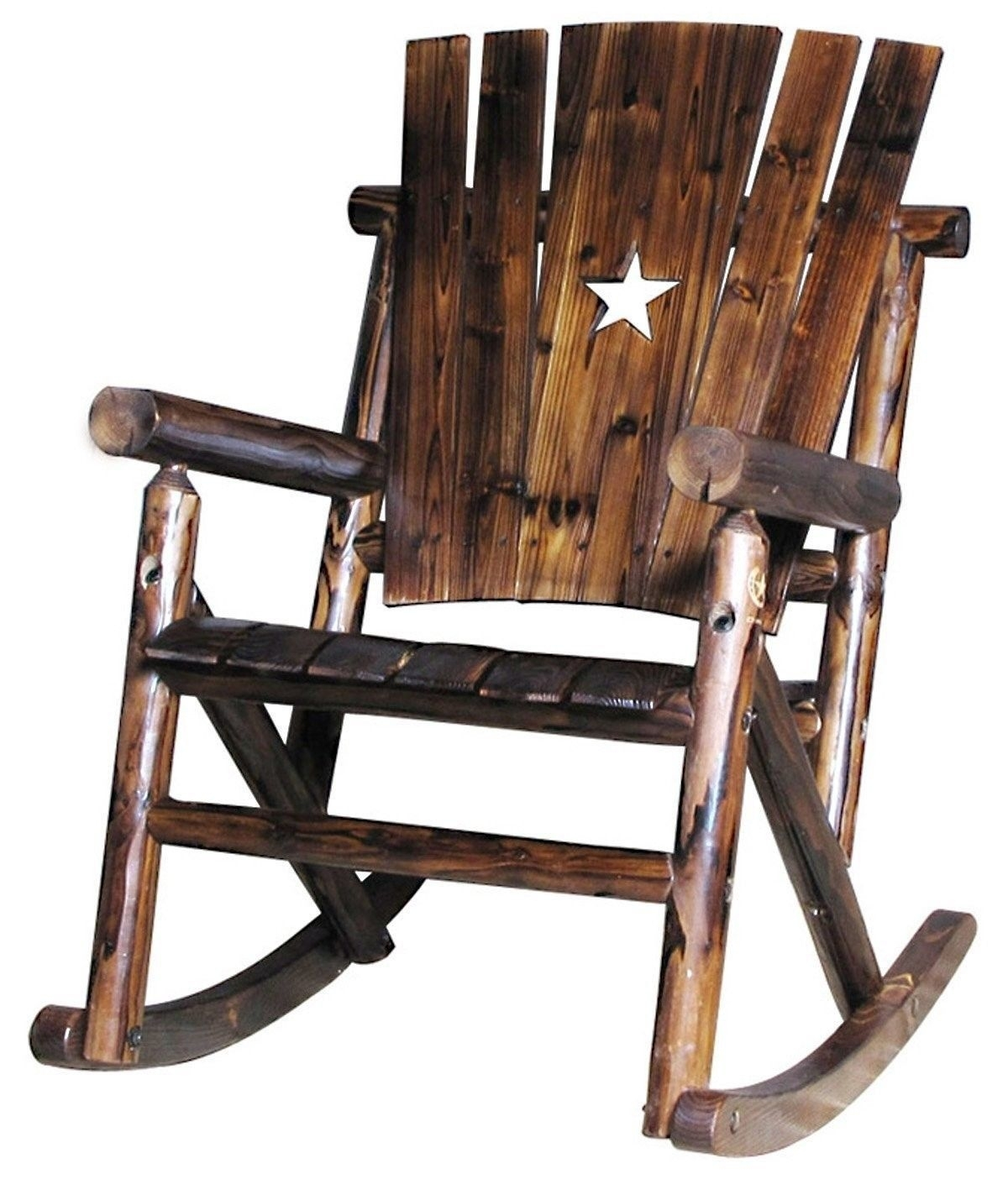 Solid Pine Fir Wood Single Rocker Rocking Chair W Star Outdoor Inside Char Log Patio Rocking Chairs With Star (#14 of 15)