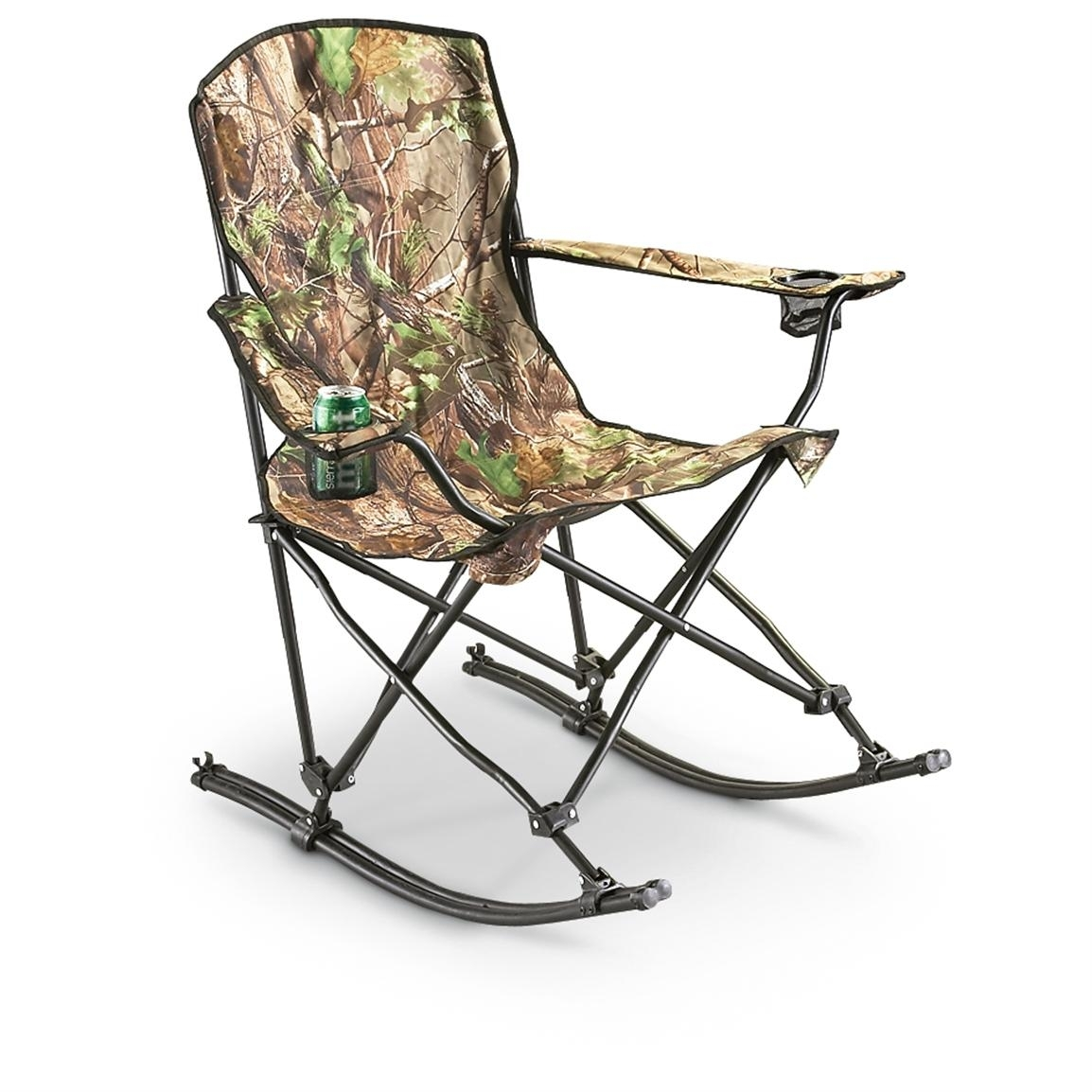 Stansport™ Team Realtree® Folding Rocking Chair – 178647, Chairs At Within Folding Rocking Chairs (#11 of 15)