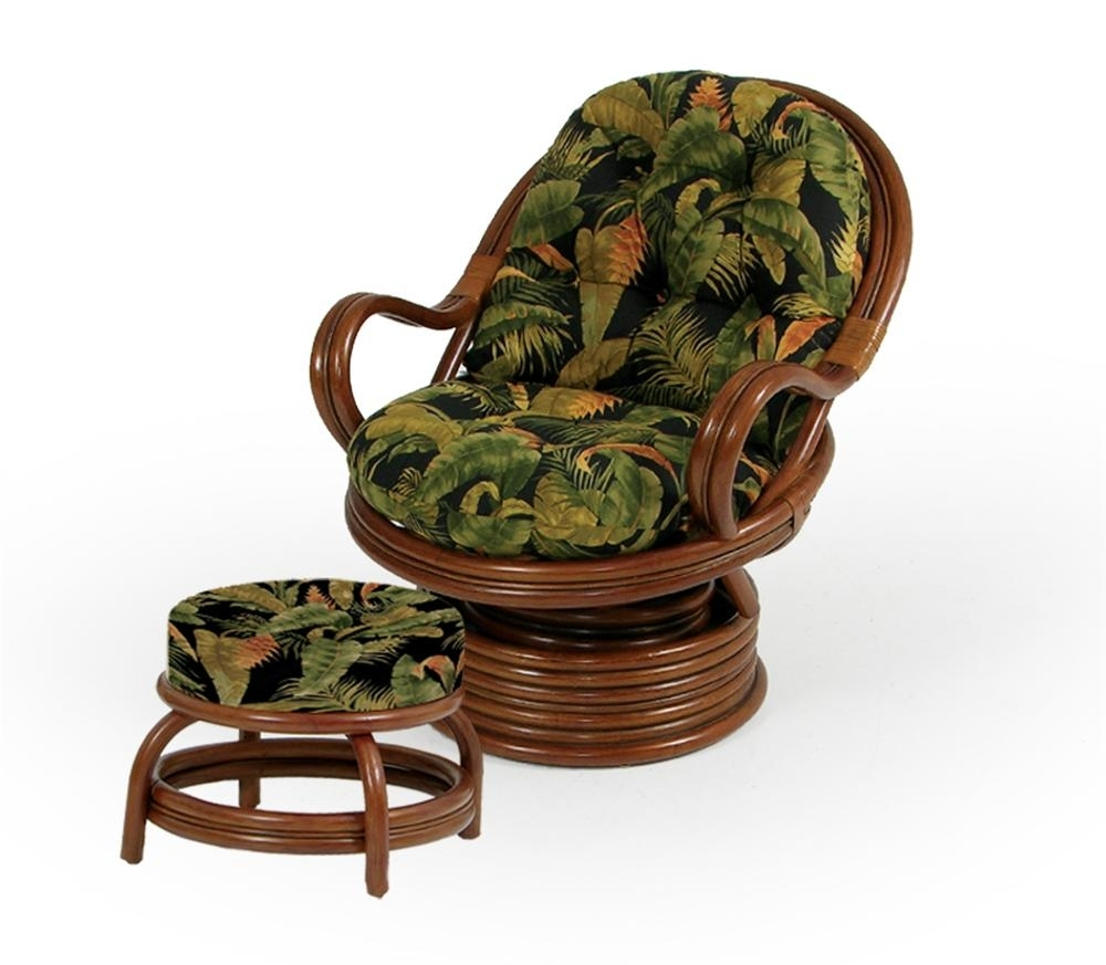 Swivel Rocker Chair And Round Ottomanpalm Springs Rattan | Wolf In Wicker Rocking Chairs And Ottoman (#11 of 15)