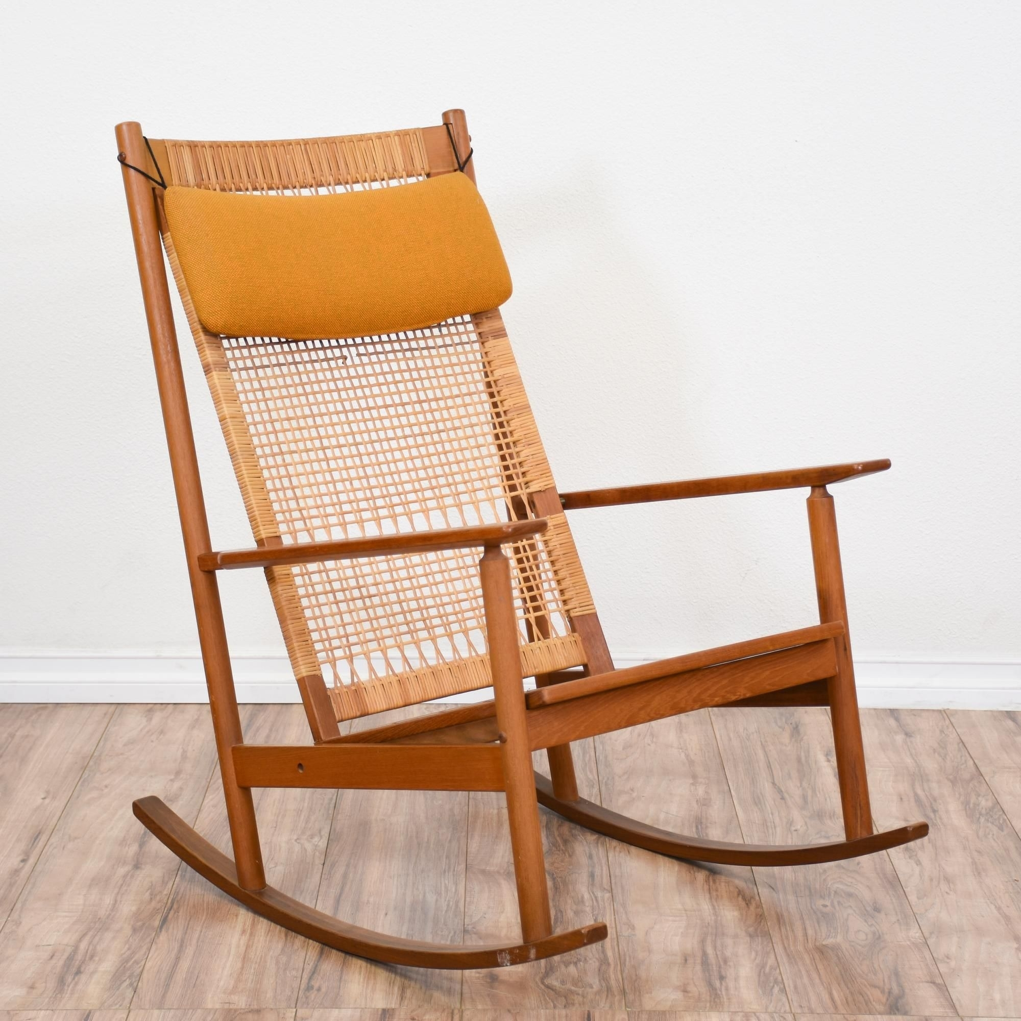 This Mid Century Modern Rocking Chair Featured Solid Wood Yellow Pertaining To Yellow Outdoor Rocking Chairs (#15 of 15)