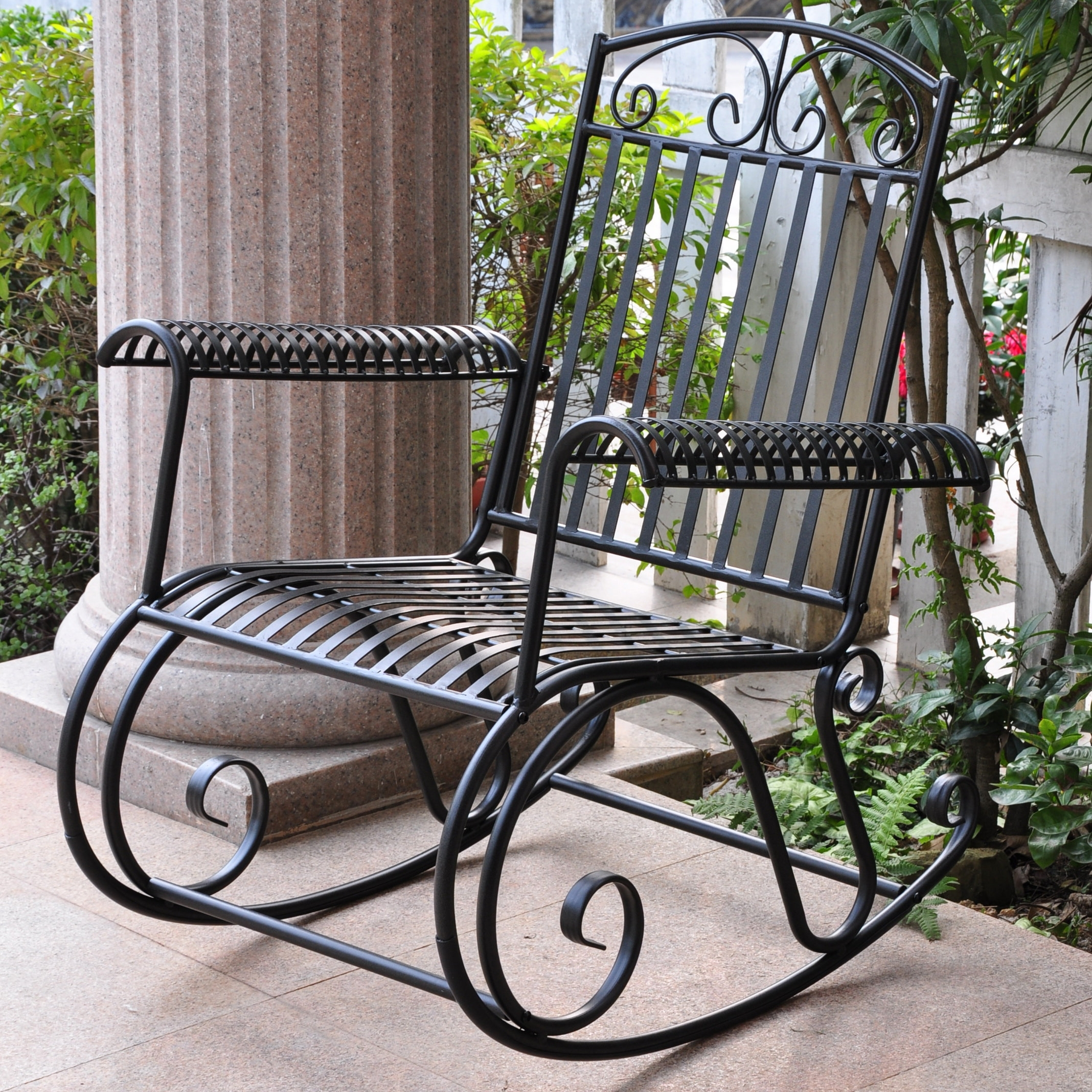 Inspiration about Three Posts Snowberry Iron Outdoor Porch Rocking Chair & Reviews With Unique Outdoor Rocking Chairs (#13 of 15)