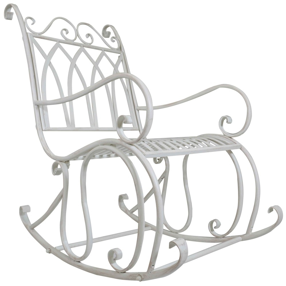 Titan Outdoor Antique Rocking Chair White Porch Patio Garden Seat Throughout Outdoor Patio Metal Rocking Chairs (View 5 of 15)